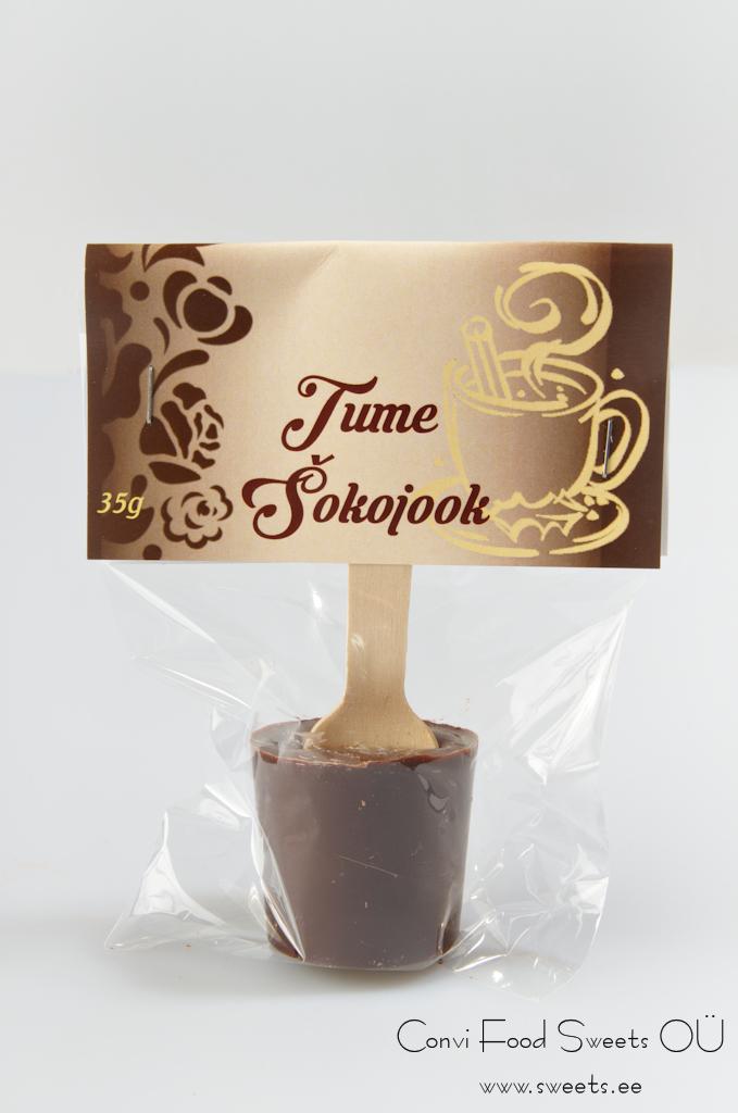 Tume šokolaad 35g, puidust lusikaga