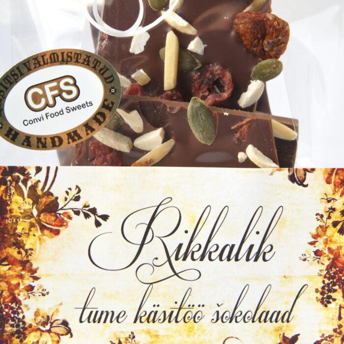 Rikkalik tume käsitöö šokolaad kotis 100g